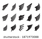 a set of black wings. vector... | Shutterstock .eps vector #1871973088