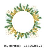christmas round banner with fir ... | Shutterstock .eps vector #1872025828