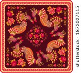 shawl with fabulous birds  red... | Shutterstock .eps vector #1872027115