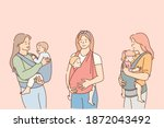 mothers carrying their kids in... | Shutterstock .eps vector #1872043492