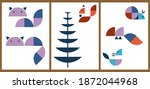 a set of three aesthetic animal ... | Shutterstock .eps vector #1872044968