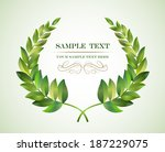 wreath from two branches with... | Shutterstock .eps vector #187229075