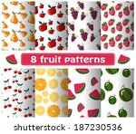 set of fruit patterns | Shutterstock .eps vector #187230536