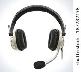 old vintage stereo headset with ... | Shutterstock .eps vector #187232198