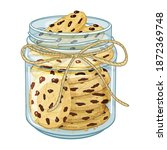 glass jar with cookie and...   Shutterstock .eps vector #1872369748
