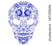 skull decorated with blue... | Shutterstock .eps vector #187250036