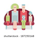 family sitting on the sofa  man ... | Shutterstock .eps vector #187250168