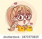 young girl waving  hands in... | Shutterstock .eps vector #1872573835