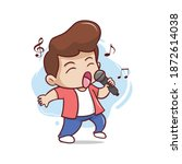 the cute vocalist sings...   Shutterstock .eps vector #1872614038