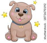 cute cartoon puppy with blue... | Shutterstock .eps vector #1872670192