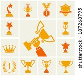 trophy and awards icons set. | Shutterstock .eps vector #187268795