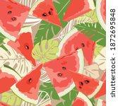 seamless pattern of watermelon...   Shutterstock .eps vector #1872695848