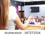businesswoman is making speech... | Shutterstock . vector #187272326