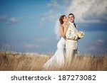 bride and groom at wedding day... | Shutterstock . vector #187273082