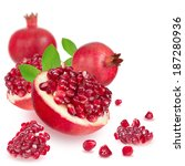 ripe pomegranate on white... | Shutterstock . vector #187280936