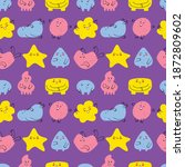 seamless pattern of cute funny... | Shutterstock .eps vector #1872809602