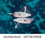 Top View Of Two Sailboats...