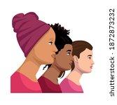 interracial women group breast... | Shutterstock .eps vector #1872873232