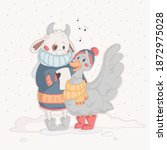 bull and goose are singing a... | Shutterstock .eps vector #1872975028