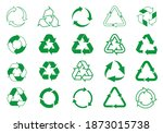 set green recycle icons. label... | Shutterstock .eps vector #1873015738