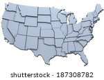 map of the 48 continental usa... | Shutterstock . vector #187308782