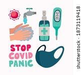 bundle of covid doodle flat... | Shutterstock .eps vector #1873119418
