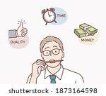business man contemplating over ... | Shutterstock .eps vector #1873164598