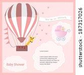 baby shower card  for baby girl ... | Shutterstock .eps vector #187317026
