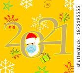 happy new year 2021 with santa... | Shutterstock .eps vector #1873195555