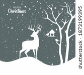 Christmas Card With A Deer And...