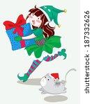 elf girl holding a gift running ... | Shutterstock .eps vector #187332626