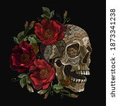 embroidery human skull and red... | Shutterstock .eps vector #1873341238