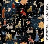 medieval astrology seamless... | Shutterstock .eps vector #1873341592