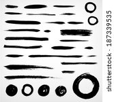 set grunge brushed elements.... | Shutterstock .eps vector #187339535