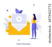 woman watching video message in ... | Shutterstock .eps vector #1873422772