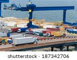 truck carries container to... | Shutterstock . vector #187342706