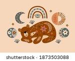 celestial poster with bear ... | Shutterstock .eps vector #1873503088