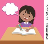 cute girl writing and thinking. ... | Shutterstock .eps vector #187352672