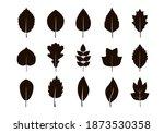 set of black various leaves.... | Shutterstock .eps vector #1873530358
