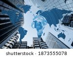 Small photo of Bitcoin entering mass adoption of hedge funds, family offices, pension funds, Venture capital, financial institutions and banks with a backdrop of world map and corporate business skyscrapers. HODL