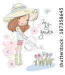 Cute Girl Watering Flowers In...