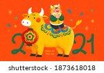 2021 new year celebration...   Shutterstock .eps vector #1873618018