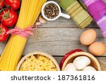 pasta  tomatoes  mushrooms and... | Shutterstock . vector #187361816