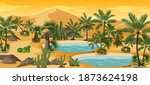 desert oasis with palms and... | Shutterstock .eps vector #1873624198