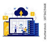 cloud data storage technology...   Shutterstock .eps vector #1873625668