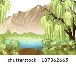 Idyllic Landscape With Willow...
