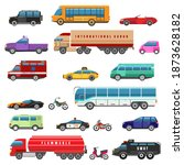cartoon bikes trucks and public ... | Shutterstock .eps vector #1873628182