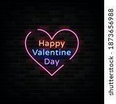 happy valentine day neon signs...   Shutterstock .eps vector #1873656988