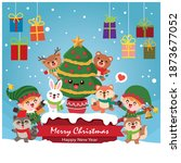 vintage christmas poster design ...   Shutterstock .eps vector #1873677052
