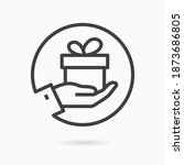 gift box in hand line icon.... | Shutterstock .eps vector #1873686805